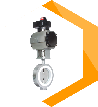 Valve Body Lined with Unlined Disc Butterfly valve with actuator